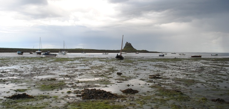 Lindisfarne Bay and Castle at Low Tide